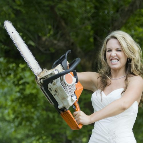 Bride with Chain Saw Square