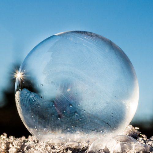 Crystal ball frozen bubble transparency Square