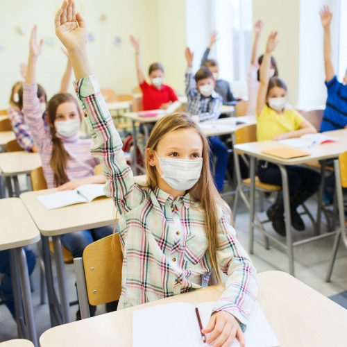 School pupil with mask Square