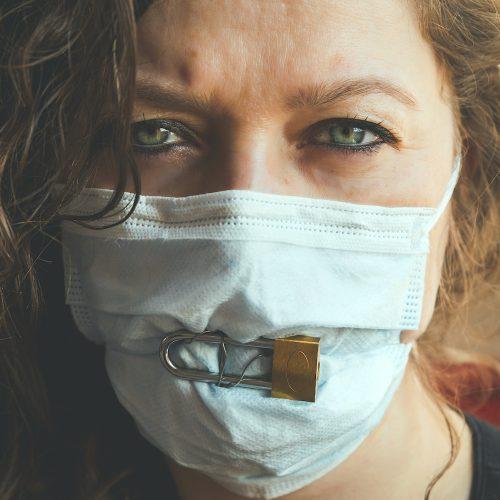 Woman padlocked mask Square